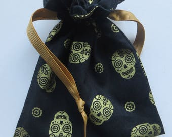 Gold Metallic Skull Lined Drawstring FAbric Gift Bag