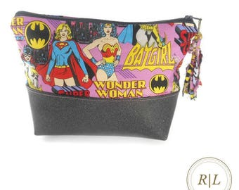 Ready to Ship Zipper Pouch with Glitter Vinyl - DC Comics Zipper Pouch featuring Female Superheroes