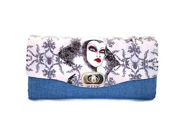 Villains Accordion Clutch Wallet - Denim Clutch Wallet - Denim Wallet - Villains Wallets
