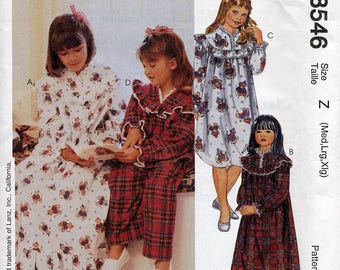 Girl's nightgown & pajamas pattern, ruffles! McCall's 8546, Sizes Medium, Large, XL