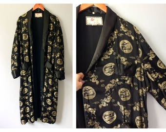 Vintage 1950's 1960's Black & Gold Satin Robe Embroidered Asian Dragons Long Robe Men's Size 50 Large Women's 2X 3X Oriental Kimono Boudoir