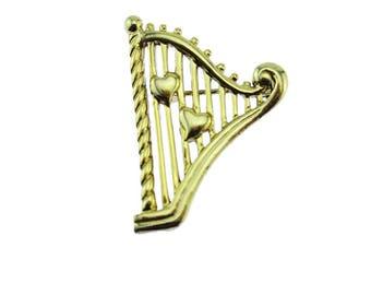 Gold Harp Brooch, Gold Harp Pin, Gold Music Brooch, Gold Music Instrument Brooch