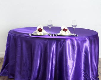 Purple Satin Round Tablecloth, Wedding Tablecloth, Wedding Supplies, Purple Tablecloth, Satin Tablecloth, Party Table Decor, Purple Decor