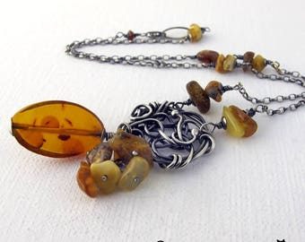Gintaras - Amber, silver, wire wrapping, necklace