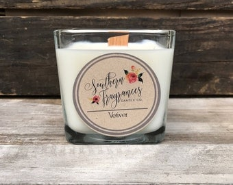 Vetiver Soy Candle | Container Candle | Wood Wick Candle | Man Candle | Made in NC | Man Candle | Eco Friendly | All Natural Soy  Home Decor