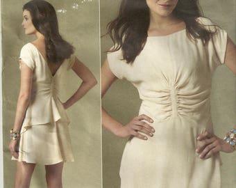 Vogue 1209 Misses Cute Gathered Back Peplum Shirred Waist Scoop Neck Dress Sewing Pattern Size 4 - 6 - 8 - 10
