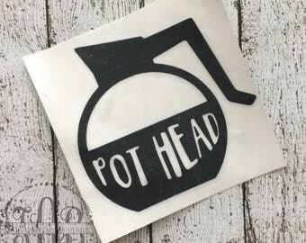 Vinyl Decal- Pot Head Decal- Coffee Pot Decal-for iPhone ,iPad, and MacBook- Car Decal-Yeti Cup Decal