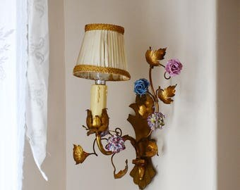 Antique French Gilded Tole Porcelain Flowers Wall Sconce with Shade