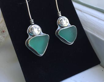 Sea Glass Teal Lotus Flower Earrings Grecian Genuine Hand Forged Mermaid Sterling Silver Dangle