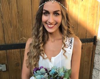 CHAIN HEADPIECE Head Chain, Vintage Head chain,Pearl headdress, gypsy head piece. Silver head chain Wedding accessories