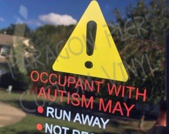 Autism Car Decal - ICE - Emergency Alert - Special Needs Alert- Medical Alert - In Case of Emergency - Autism Alert - Deaf Alert - Autism