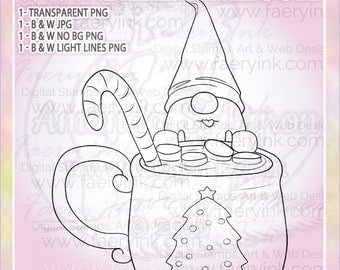 Hot Cocoa Christmas Mug Tomte Nisse Gnome UNCOLORED Digital Stamp Image Adult Coloring Page jpeg png jpg Craft Cardmaking Papercrafting DIY