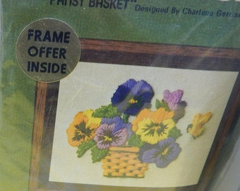 """Pansy, Asparagus Fern, Crewel Embroidery Stitchery Kit Jiffy 1970""""s Vintage 4"""" x5""""/5"""" x 7""""  Mary's Neat Knits and Kits"""