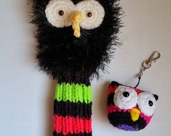 """ON SALE Big Horned Black OWL Golf Club Headcover/Charm/Fur/Neon Hand Knit for Small Wood and Hybrids, Irons 11"""" Long Great Golfer Gift"""