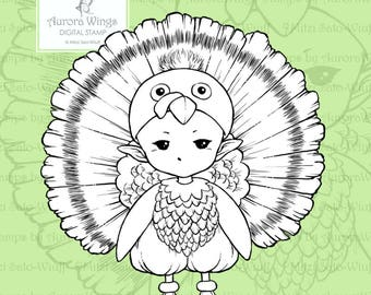 PNG Digital Stamp - Happy Thanksgiving - Turkey Sprite - Whimsical Holiday Image - Fantasy Line Art for Cards & Crafts by Mitzi Sato-Wiuff