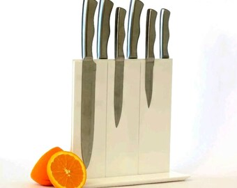 White Magnetic Knife Rack, Knife Holder, Knife Block