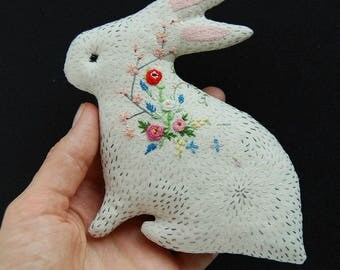 Bunny in bloom No. 19 - embroidered blooming critter, beautiful gift for Mother or Beloved, sweet bunny rabbit soft sculpture keepsake