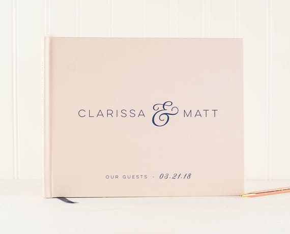 Wedding Guest Book horizontal landscape guestbook blush and navy sign in book photo booth hardcover wedding planner book personalized names