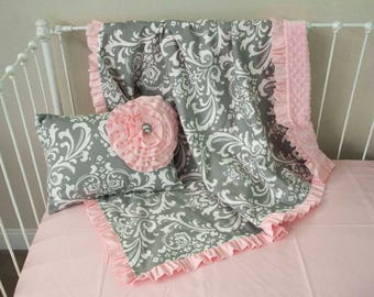 Gray Damask and Light Pink Baby Girl Blanket and Decorative Pillow ( Choose from Options)