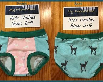 Kids/toddler undies - kids underwear - girls underwear - pants - panties - briefs - size 2-4 - cotton - spandex - fawn - deer - pink - blue
