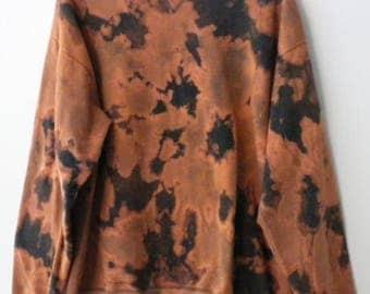 Tie Dye Gray sweatshirt, Gray Crewneck Sweatshirt, Boho Chic, bronze, Jumper, ombre, dip dye, acid wash, Punk, Rocker, Grunge, Orange