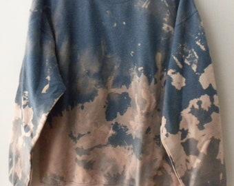 Tie dye Sweatshirt, Pink Acid wash sweatshirt, Blue, dip dye crewneck sweatshirt, Grunge, sweater, jumper, hipster, boho, Rocker, tie dye