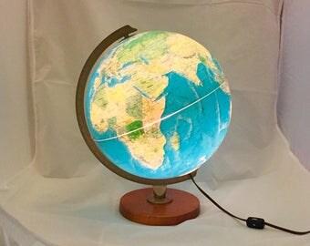 Vintage Replogle Lighted Light Up Spinning World Topography Globe on Wood Base c. 1980s