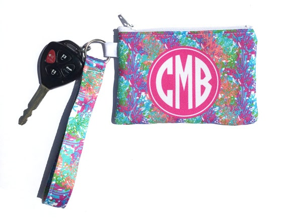 Lilly Inspired Key Chain Zipper ID Wallet Personalized Key Fob Wristlet Monogram Key Chain Coin Purse Custom Coral Cute Car Accessories