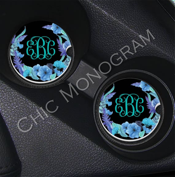 Floral Monogrammed Car Coasters Beautiful Blue Flowers Cup Holder Coasters Personalized Sandstone Coasters Cute Car Accessories For Women