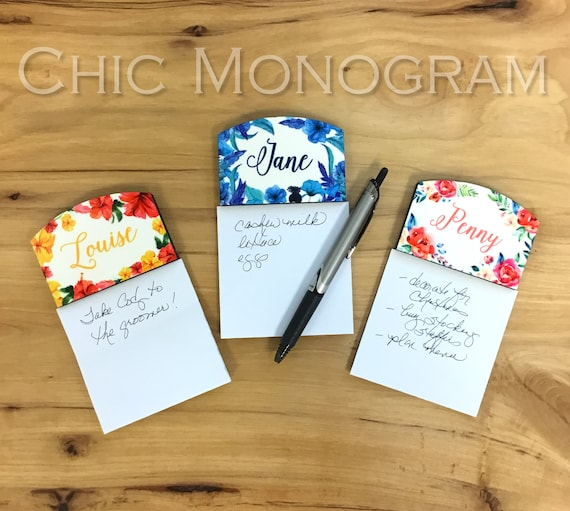 Gifts for Coworkers Personalized Sticky Note Holder Office Accessories Decor Monogrammed Gifts for Employees Floral Office Items Flowers