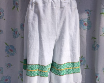 Vintage cotton bloomer shorts, trimmed with crochet lace