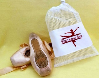 Personalised Dance Shoe Bag, Pointe Shoe Bag, Ballet Shoe Bag, Bright Mesh Shoe Bag, Embroidered Ballerina, Personalised Name, Ballet Bag