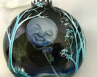 Children's Christmas Tree Ornament Hand Painted To the Moon and Back Whimsical Sentimental Personalized Holiday Memorable 3D Unique Artwork