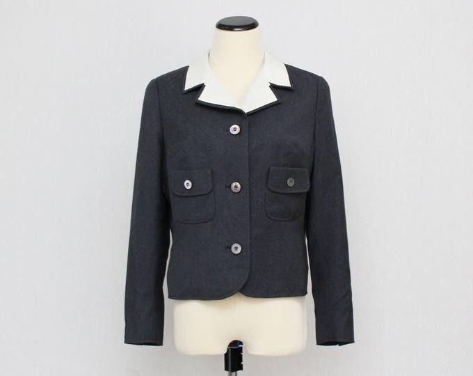 Vintage 1950s Grey Wool Blazer - Size Small