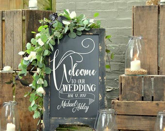 Wedding Chalkboard with Message, Double Sided Chalkboard, Chalkboard Easel, Sandwich Chalkboard, Welcome To Our Wedding