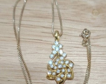 9 ct gold cz pendant and chain
