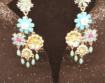 Retro Gold Flower Earrings