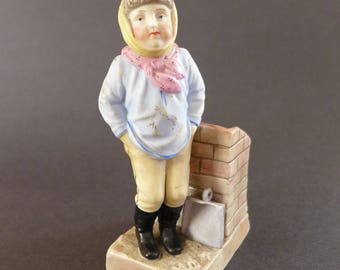Porcelain Fairing Match Holder, Young Man w/Ash Pan and Chimney, Bohne & Söhne, Blue Anchor Mark, Hand Painted China, Vintage Porcelain