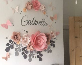 Baby Room Flower Arrangement - Baby Room Paper Flowers - Nursery Paper Flowers - Paper Flowers Wall Decor (code:106)
