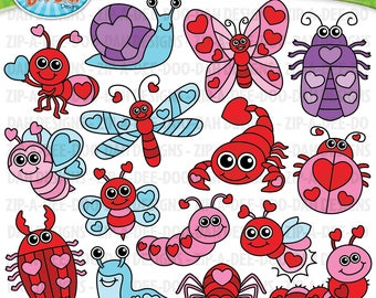 Valentine's Day Love Bugs Clipart Set {Zip-A-Dee-Doo-Dah Designs}