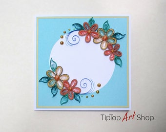 Quilling Card with Handmade Flowers in Blue, Ornage and Yellow; Personalized
