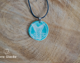 Ceramic necklace, ceramic jewelry, porcelain, leather cord,  white, blue-green, sgraffito, aquatique, mermaid, stainless steel, handmade