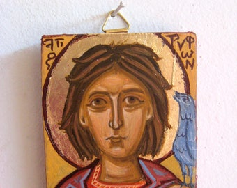 St Tryphon- Miniature icon of the orthodox russian saint, mini patron of birds protector of fields- christian art, byzantine greek icon,