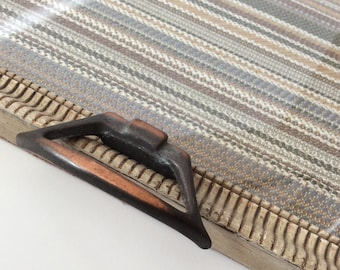 Upcycled distressed wood vintage frame tray with vintage pewter handles and vintage inspired striped upholstery fabric