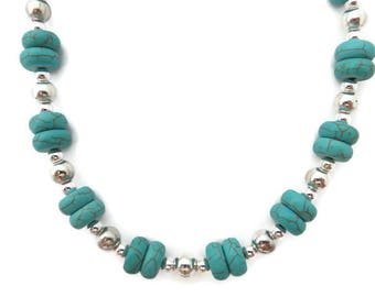 Chunky Turquoise Necklace, Turquoise Beaded Necklace, Turquoise and Silver Necklace, Southwest Necklace, Turquoise Howlite, Stone Necklace
