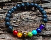 7 Chakra Bracelet-Lava Bead Bracelet-Stretch Bracelet-Unisex Bracelet-Reiki Jewelry-Healing Aromatherapy Jewelry - FREE SHIPPING WORLDWIDE