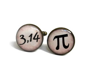 PI CUFFLINKS - Math Cufflinks - Science cufflinks - Geekery cufflinks - Wedding cufflink - Groom - Groomsmen - Gift for teacher