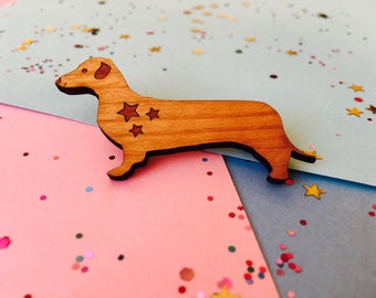 Dachshund Brooch, Sausage Dog Brooch, Dog Brooch, Dachshund Pin, Dachshund Gift, Dog Jewellery, Dog Lover Gift, Wood Dog, Mother's Day Gift