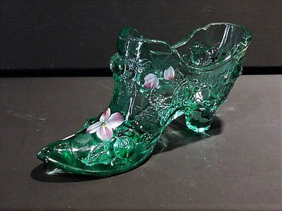 Fenton Glass Shoe Green Cabbage Rose Hand Painted Flowers Artist Signed Vintage 1980s Art Glass Slipper Shoe Collectible Home Decor Display