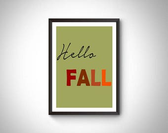 Hello fall printable art, fall decor, fall digital print, fall sign, fall decoration, autumn printable, digital prints, autumn decor, fall